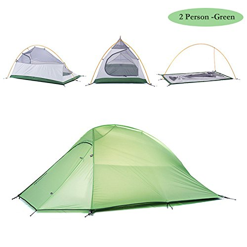 Ultralight 2 Person Tent (Weanas 1-2 Person 4 Seasons Double Layer Backpacking Tent, Ultralight Aluminum Rod Anti-UV Windproof Waterproof, Free Offer a Groundsheet, for Camping, Hiking, Travel, Hunting (Green, 1-2 Person))