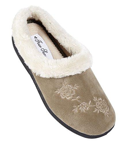 De mujer para senderismo para mujer Zapatillas las cuatro estaciones zapatos de espuma con efecto memoria antideslizante-en la parte de metal 3 8 - disponibles de distintos tamaños Beige - gris