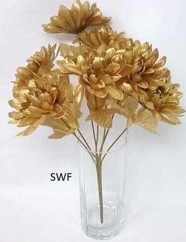 5 Silver Mums Silk Wedding Flowers Bridal Bouquets Centerpieces Chrysanthemum