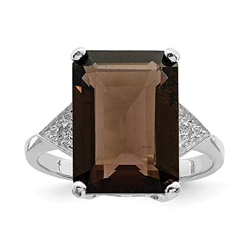 925 Sterling Silver Smoky Quartz Diamond Band Ring Size 8.00 Stone Gemstone Fine Jewelry Gifts For Women For Her