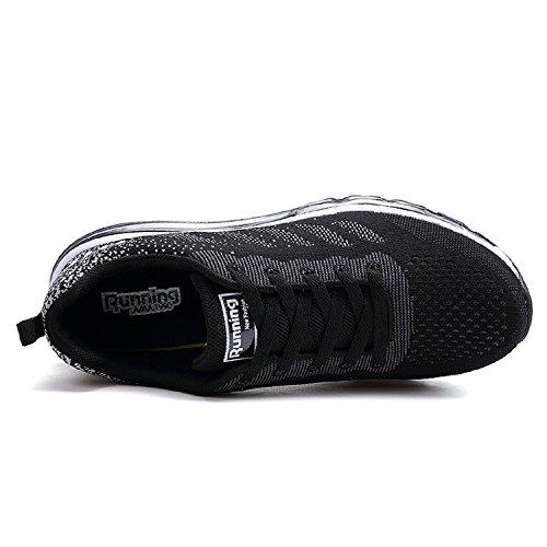 tqgold Unisex Herren Damen Sportschuhe Laufschuhe mit Luftpolster Turnschuhe Profilsohle Sneakers Leichte Schuhe Schwarz