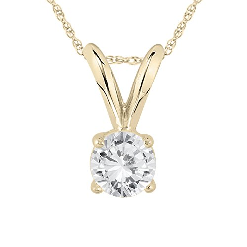 Diamond Womens Gold Necklace (AGS Certified 1/4 Carat Round Diamond Solitaire Pendant in 14K Yellow Gold (K-L Color, I2-I3 Clarity))