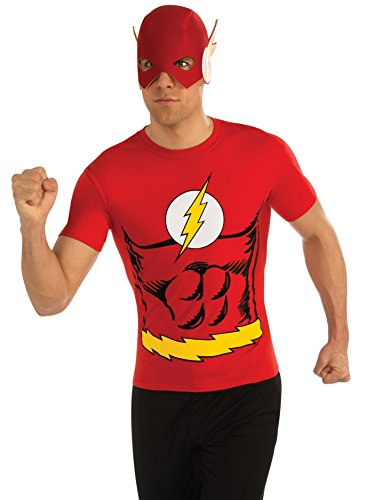 [Rubie's DC Comics Justice League Superhero Style Adult Top and Mask Flash, Red, Medium] (Hero Costumes For Men)