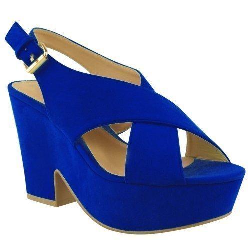 Mujer Alto Tacón Mediano Plataforma Plana Zapatos De Cuña Sandalias peep-toe Talla Azul Cobalto Gamuza