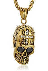 Men's 18k Gold Plated Stainless Steel Necklace with Skull Pendant Necklace, 24""
