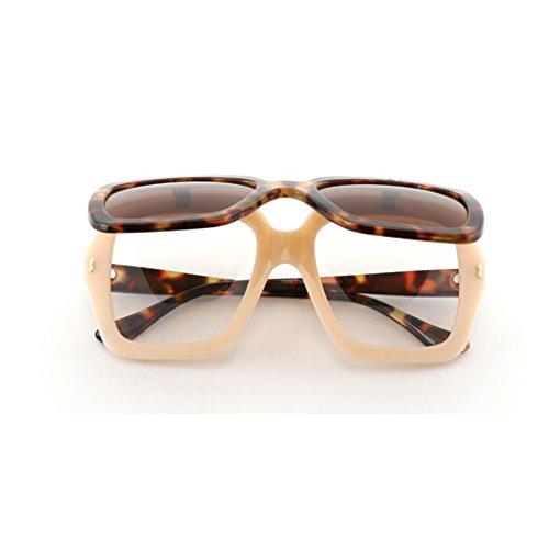 Personalidad Beat UV400 Sol Redondo HOME Travel Espejo Movimiento Anti Gafas 2 Cubierta de 2 Moda de Ultraligero QZ Color polarizada Decorativo Vintage Street Tapa Marco Gran Reflectante Luz de n4gxHB