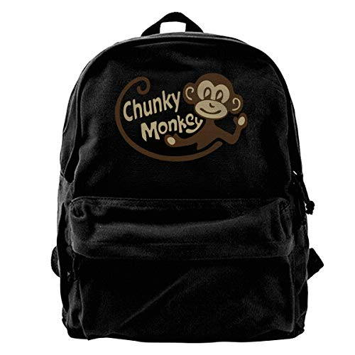 Hghthyuir Classic Canvas Backpack Chunky Monkey Unique Print Style,Fits 14 Inch Laptop,Durable,Black