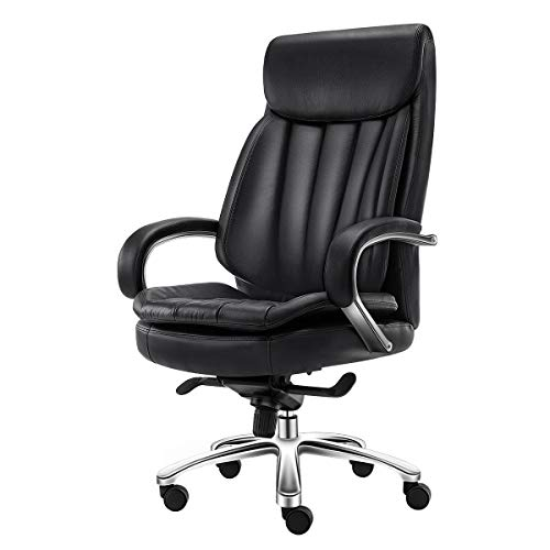 (YWARX High Back Computer Desk Chair, Leather Swivel Executive Office Chair - 130° Reclining - Ergonomic Design - for Man and Women,Black(Cowhide))