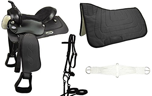 Western Riding Saddle Set - Tahoe Comfort Trail Riding Western Saddle Set - 6 Items (Black, 13