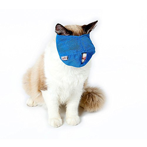 dds5391 Comfortable And Lovely Pet Favorite Breathable Mesh Lovely Cat Anti Bite Muzzle Travel Tool Bathing Bag Pet Supplies - Blue L