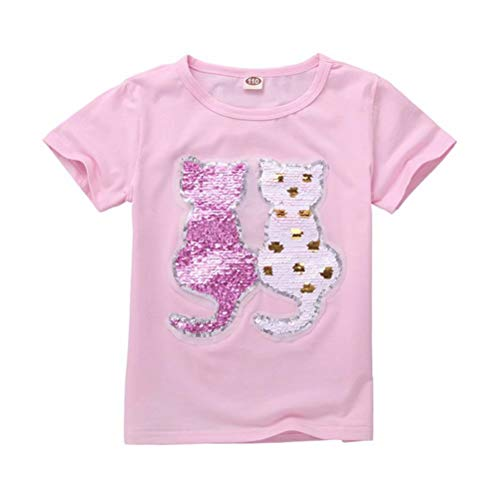 Girls Kids Cats Magic Sequin T-Shirt Short Sleeve Casual Tee Tops -