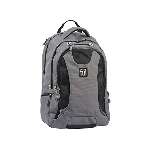 Ful Navigator Padded 15'' Laptop Backpack, Grey/Black by Ful