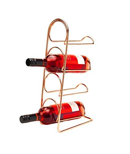 - CKB Ltd Pisa Wine Rack Free Standing - 4 Bottle Storage - Metal Holder Holds 4 Bottles - Copper Finish - Vertical Slimline Tower Design | Also Holds Champagne Prosecco Bottles