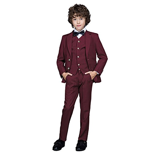 Yanlu Boy's Formal Suits Jacket+Pants+Vest+Shirt+Bow Tie 5 Piece Suit Sets Size 10 Burgundy