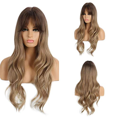 Amazon Com Esmee Long Ombre Brown Blonde Womens Wigs With Bangs Water Wave Heat Resistant Synthetic Wigs For Women African American Beauty