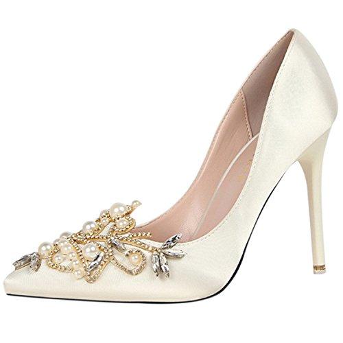 Azbro Mujer Estilete Zapato Bomba Slip-on con Perlas Dimantes Falsos Puntera Punta Blanco