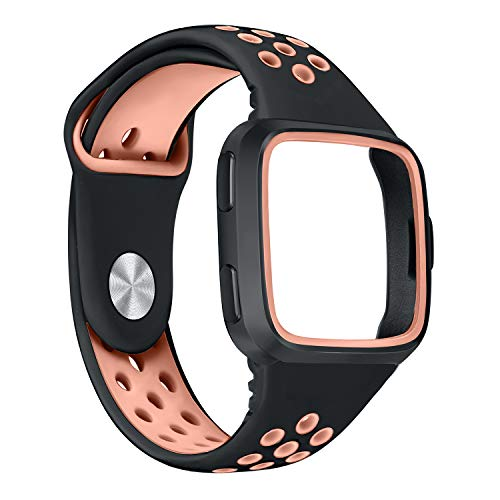 bayite Bands Compatible Fitbit Versa, Soft Silicome Band with Frame Replacement Straps Sports Women Men, Black/Orange