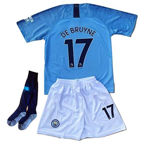 (De Bruyne #17 Manchester City Home Kids/Youths Soccer Jerseys 2018-2019 Matching Shorts,Socks Color Blue Size 20)
