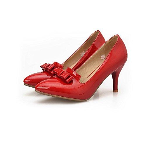 Naisten Pumput kengät Solid Toe Vedettävä Päälle Weenfashion Suljetun Korkokenkiä Punainen Kiiltonahkaa Huomautti zOdqzg