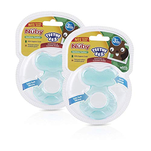 Nuby Silicone TeeThe-EEZ Teether with Bristles, Includes Hygienic Case, Aqua (Count of 2)