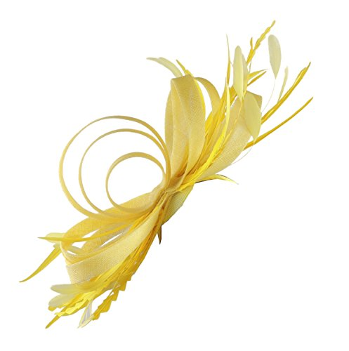 Hats By Cressida Ladies Feather Wedding Races Ascot Derby Fascinator Headband Yellow by Hats By Cressida