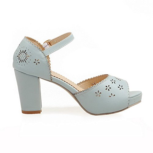 Amoonyfashion Womens Buckle High Heels Pu Solid Peep-toe Sandalen Blauw