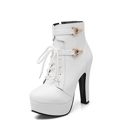 Leather Bandage Imitated BalaMasa White Boots Tuxedo Zipper Ladies Shoes ZqnnfP7S