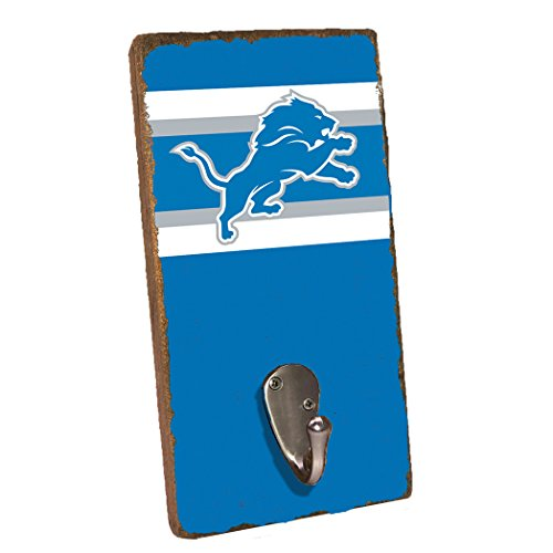 Rustic Marlin Designs NFL Detroit Lions, Royal Background, Team Logo Single Wall Hook, 11