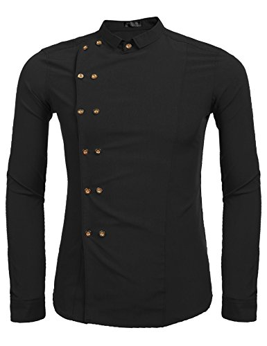 Modfine Men's Casual Long Sleeve Slim Fit Double-Breasted Button Down Collar Dress Shirts
