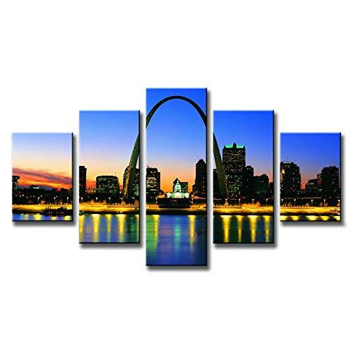 WSTDSM 5 Pcs Landscape American City Painting Printed On Canvas Sunset of St. Louis Arch Art Home Decor Print on Canvas (no frame/30x40x2 30x60x2 30x80cmx1) (Louis St Modern Furniture)