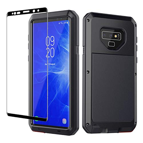 Galaxy Note 9 Case, Note 9 Heavy Duty Shockproof Hybrid Metal Silicone High Impact Rugged Case Tempered Glass Screen Protector [Full Screen Coverage] Samsung Galaxy Note 9 (Black)