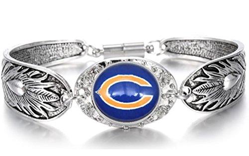 (Devastating Designs Women's Tibetian Silver Chicago Bears Bracelet Football Gift)