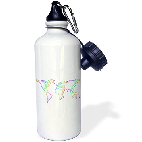 3dRose David Zydd - Map Designs - Rainbow World Map - 21 oz Sports Water Bottle (wb_280106_1) by 3dRose
