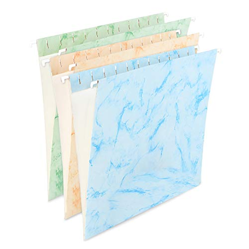 (YOMA Marble Hanging File Folders, Letter Size(12 Pack), Assorted 3 Colors with Reinforced 1/5 Cut Tabs )