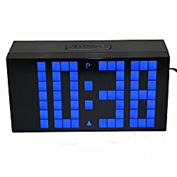 LambTown Digital Alarm Clock Countdown Led Timer with Temperature Calendar Snooze Nightlight 3-inch Large Blue Numbers Desk or Wall Mount
