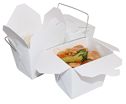 JA Kitchens Chinese Take Out Food Boxes With Wire Handle, 16 oz, Pack of 50 (Out Plastic Boxes Take)