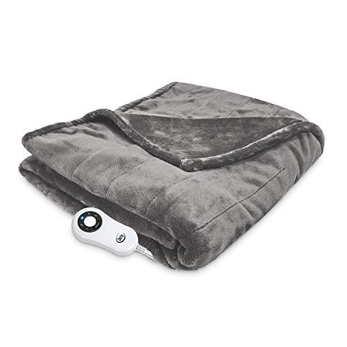 Serta 874607 Silky Plush Electric Heated Warming Throw Blanket Grey Washable Auto Shut Off 5 Heat Settings (Serta Queen Heated Blanket)