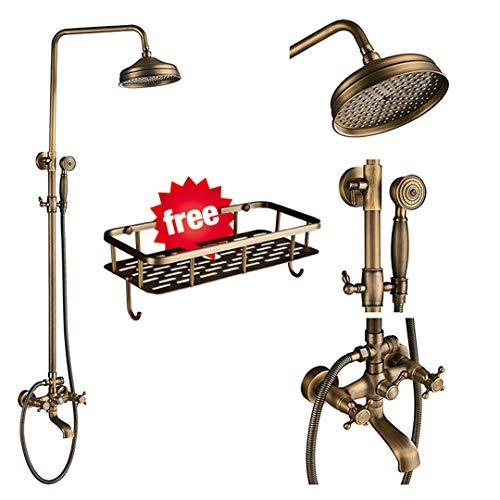 Antique Brass Shower Faucets Set 8'' Rainfall Shower Commodity Shelf Dual Handle Mixer Tap Swivel Tub Spout Bath Shower Type D
