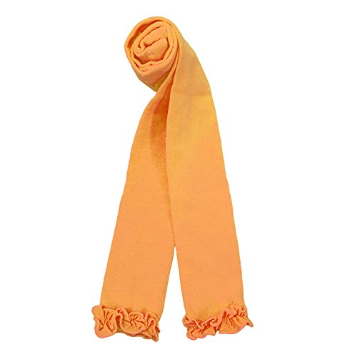 Country Kids Little Girls' Cute Footless Ankle Length Tights Ruffle Knitted Pima Cotton, Pack of 1, Fits 3-5 Years, Orange -