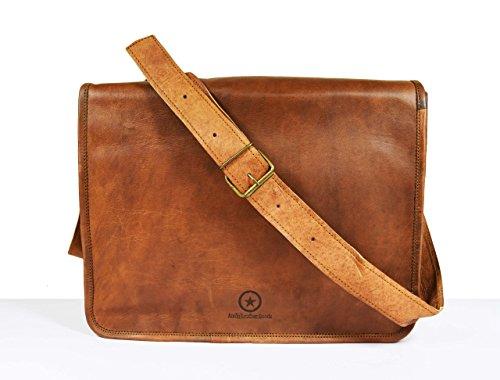 15 Inch Leather Vintage Crossbody Messenger Satchel Bag Gift Men Women ~ Business Work Briefcase Carry Laptop Computer Book Handmade Rugged  Distress…