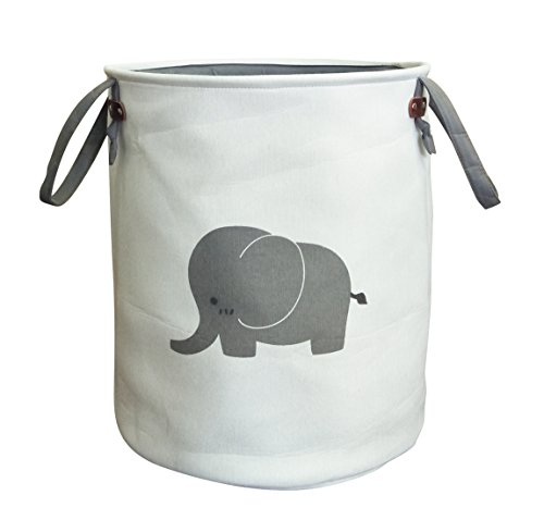 ESSME Canvas Toy Organizer,Cotton Cute Elephant Bin,Collapsible Storage Basket with Handles for Baby Clothes,Laundry,Toy,Bedroom and Office(Elephant) by ESSME