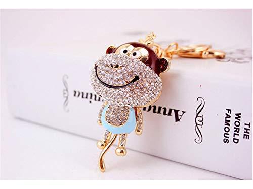 Car Keychain, Cute Diamond Long Tail Monkey Keychain Animal Shape Key Trinket Car Bag Key Holder Decorations(Blue) for Gift by Huasen