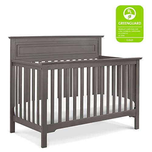 DaVinci Autumn 4-in-1 Convertible Crib in Slate | Greenguard Gold Certified (Davinci Kalani 3 Drawer Changer Dresser White)