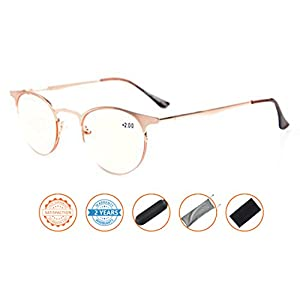 UV Protection,Anti Blue Rays,Reduce Eyestrain,Half-Rim Round Computer Reading Glasses(Gold,Amber Tinted Lenses) +1.0