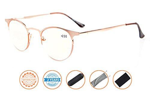 UV Protection,Anti Blue Rays,Reduce Eyestrain,Half-Rim Round Computer Reading Glasses(Gold,Amber Tinted Lenses) - Glasses For Sale Gold Frame