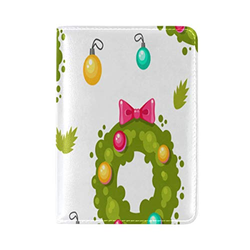 Passport Cover Case Holiday Wreath Cartoon Romantic Atmosphere Christmas Design Leather&microfiber Multi Purpose Print Passport Holder Travel Wallet For Women And Men 5.51x3.94 In
