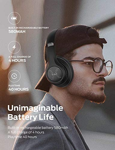 Tribit XFree Tune Bluetooth Headphones, [40h Playtime] Bluetooth Headphones Over Ear with Hi-Fi Stereo Sound & Rich Bass, Cnet's Award, Comfortable Headphones with Microphone & Foldable, Black 41HPrjFiG2L