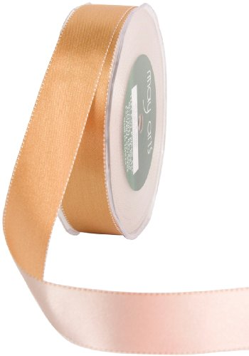 May Arts 1-Inch Wide Ribbon, Antique Gold and Champagne Reversible Satin