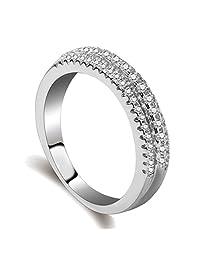 Engagement Ring for Women White Platinum Plating Cubic Zirconia CZ Diamond Eternity Promise Simple Wedding Bridal Band