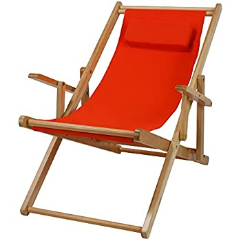 Casual Home Adjustable Sling Chair Natural Frame, Orange Canvas